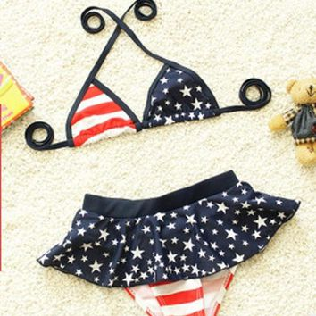 EMS/DHL Free shipping 2015 Baby Girl Swimwear Beach Kids Children Bikini Stars stripes Swimsuit Wear