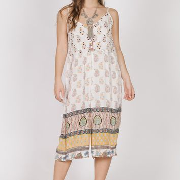 Tent Vintage Hippie Pattern Above The Ankle Jumpsuit