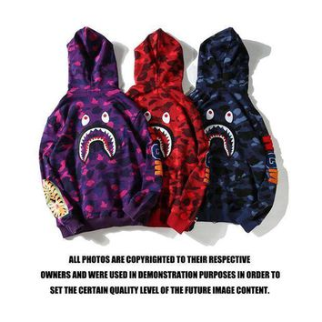 Bape Shark Fashion Hoodies Zippers Casual Jacket