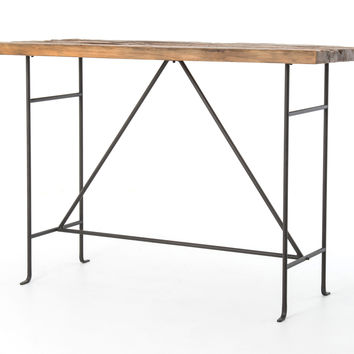 ALVAH BAR TABLE-BLEACHED PINE/RUST BRN
