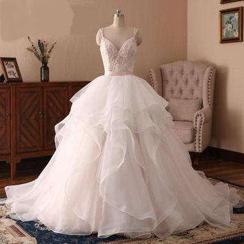 Light Pink Wedding Dresses Princess Beads Wedding Gowns Robe Tulle Bridal Gowns