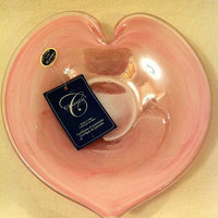 NEW Arte Murano Glass - Pink Heart Blown Glass Accent Dish