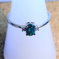Solid Australian Lightning Ridge Black Opal and Diamond 18k White Gold Ring (13077)