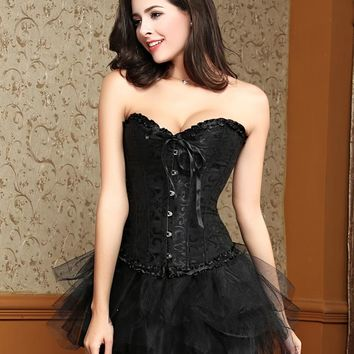 Women black corset dress steel boned plus size halloween costumes for women waist trainer corsets plus size burlesque costumes
