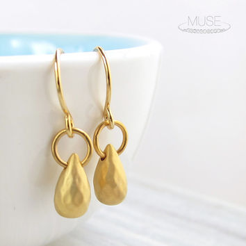Gold Teardrop Earrings - Tiny Drop Earrings, Dainty Gold Earrings, Briolette Earrings, Simple Modern Earrings, Everyday Jewelry