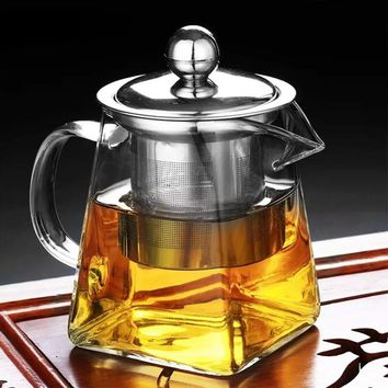 Heat Resistance Glass Teapot Loose Leaf Tea Pot Jug Container Clear Bottle With Infuser Filter