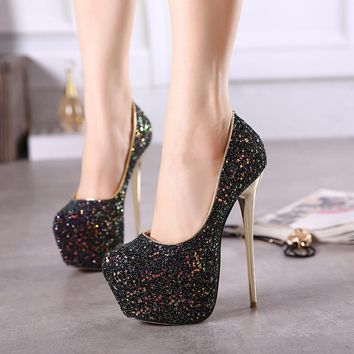 Rhinestone High Platform Stiletto Heel Super High Heels Prom Sho 8a11a4ffb