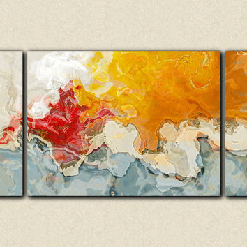 "Large abstract wall art stretched canvas print, 30x60 to 40x78 in red, orange, blue and white, ""Together Again"""