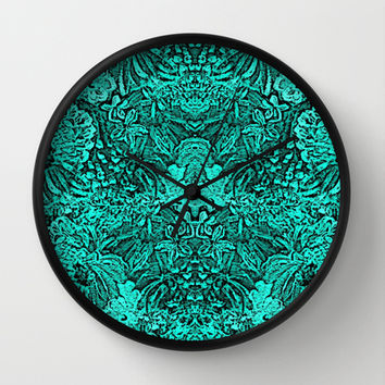 Turquoise Black Tapestry look Intricate design Wall Clock by RokinRonda