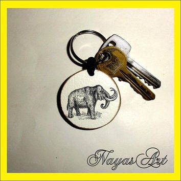 Mammoth Gift Keychain personalized. Elephant Mammoth keyring. White Wooden Handmade Keyring Keychain. Unique keychain Wooden natural slice