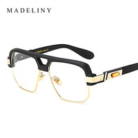 MADELINY High Quality Square Glasses Frame Women Big Frame Clear Lens Glasses Semi Frame Women Men Optical Frames Glasses MA430