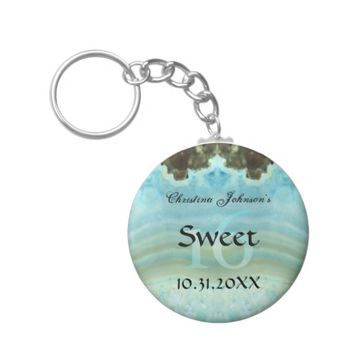 Trendy Aqua Blue Crystal Sweet 16 Party Favors Basic Round Button Keychain