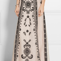 Temperley London - Delphia embroidered silk-organza maxi skirt