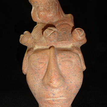 Vintage Clay Sculpture Man with Beast on his head