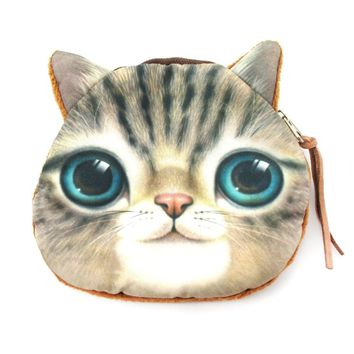 Realistic Kitty Cat Tabby Face Shaped Soft Fabric Zipper Coin Purse Make Up Bag with Green Eyes