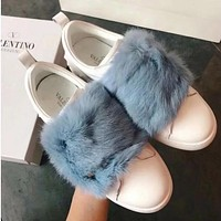 Valentino Women Fashion Casual Fur Flats Shoes