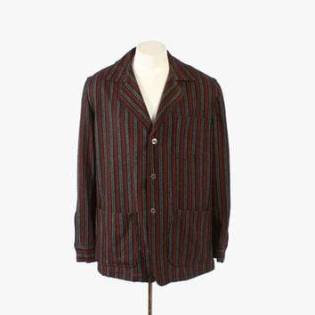 Vintage 50s 49er JACKET / 1950s Men's Red Striped Wool Blazer Jacket M - L