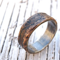 bronze ring silver band, personalized mens ring bronze, mens wedding band bronze, cool mens ring bronze, unique engagement ring wood grain