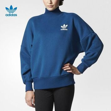 CUPCUPST Adidas' Women Sports Casual Loose Long Sleeve Turtleneck Sweater Pullover Sweatshirt Tops