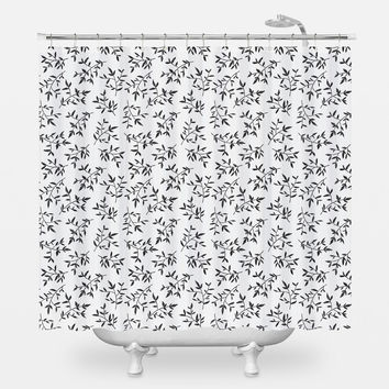 Black Leaves Shower Curtain