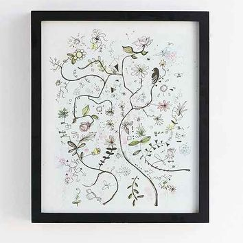 Plum & Bow Bird On A Wire Framed Wall Art- Black One