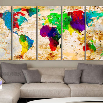 """XLARGE 30""""x 70"""" 5 Panels Art Canvas Print World Map Original Watercolor texture Old Wall Home Office decor (Included framed 1.5"""" depth)"""