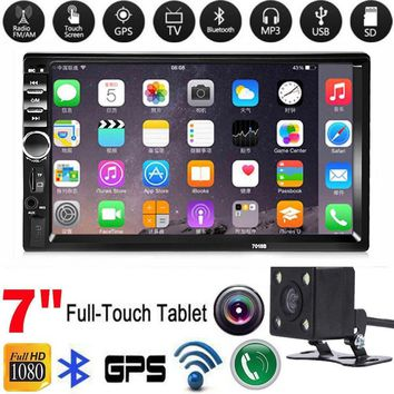 """7"""" HD Bluetooth In Dash Touch Screen 2 Din Car Stereo Radio BT Function FM AUX USB SD MP5 Player  Remote Controller Power Cable"""