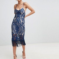 Love Triangle cami strap lace dress with fringing detail at asos.com