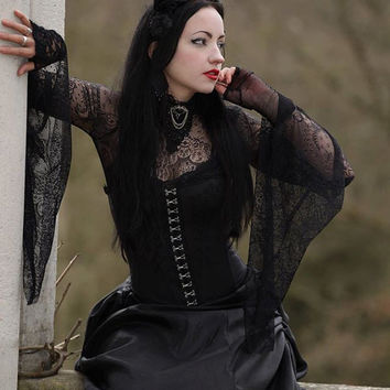 Medieval Batwing Sleeve Lace Gothic Top Trad 80's Goth Witch