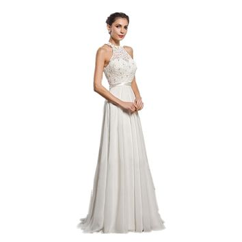 malianna Summer Women's Sexy Halter Neck Sleeveless Party Dress Formal Wedding Lace Patchwork Solid White Dress Bodycon
