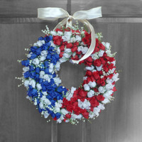 SUMMER SALE Patriotic Wreath - Stars and Stripes - Americana Wreath - Memorial Day Wreath - Rose Bud Wreathw Red White and Blue - Patriotic