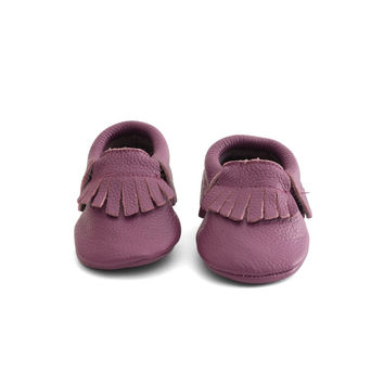Fringe Baby Leather Moccasins Purple Rain