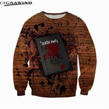 New arrival Anime Death Note 3D printed sweatshirts funny mens hoodies men/women tracksuits Harajuku hip hop style pullovers