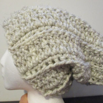 Slouchy winter hat in wheat, dread head hat, chunky hat
