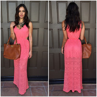 Triangle Remix Maxi Dress - Coral