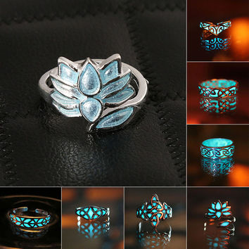 2016 New Fashion Fluorite Rhinsetone Night Light Ring Rings For Women Party Wedding Ring Jewelry 7 Shapes Free Shipping