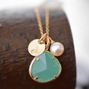 Set of THREE Mint Green Glass Charm, Pearl & Initial Disk Gold Necklace and Earring Set - Bridesmaid Necklace , Bridesmaid Gift  ,  Gift