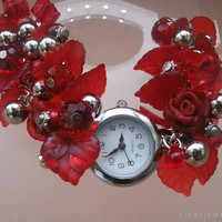 Red wrist watch Romantic gift for her Red beaded watch for women - Red womens watches Red rose beaded wrist watch Beaded bracelet jewelry