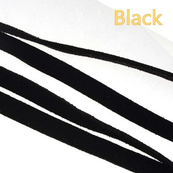 10mm wide flat leather cords braided watch bracelets woman man jewelry accessories diy choker necklaces double velvet black 10m