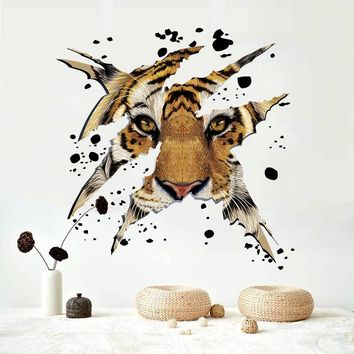 3D Animal Tiger for Kitchen Room Wall Decals For Kid Room Bedroom Living Room Decorative Stickers PVC Wall Stickers