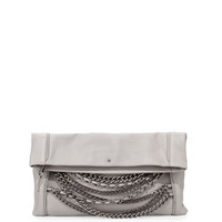 Domino Chain Fold-Over Leather Clutch Bag, Stone Gray/Silver
