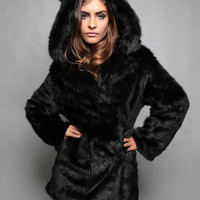 Black Cat Ear Detail Hooded Faux Fur Coat