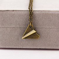 Paper Plane Pendant Necklace
