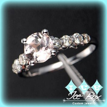Morganite Engagement Ring 1.15 Round Morganite Solitaire in 14k White Gold Diamond Scrollwork Setting