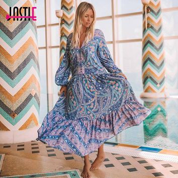 Jastie City Lights Gown Women Dress Bohemian Inspired Mixed Print Dresses Front Button Closures Shapeless Maxi Dress Vestidos