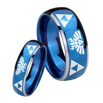 His Her Glossy Blue Dome Legend of Zelda Two Tone Tungsten Wedding Rings Set