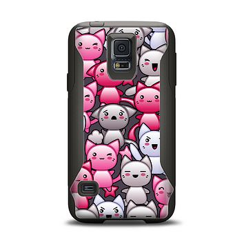 The Cute Abstract Kittens Samsung Galaxy S5 Otterbox Commuter Case Skin Set