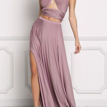 Light Purple Backless Side Slit Cut Out Sashes 2-in-1 Sleeveless Maxi Dress