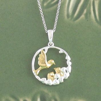 Mother & Baby Birds Necklace