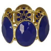 Oval Stretch Bracelet - Blue/Gold